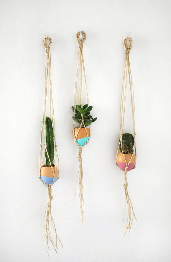 mini macrame succulent egg decorations